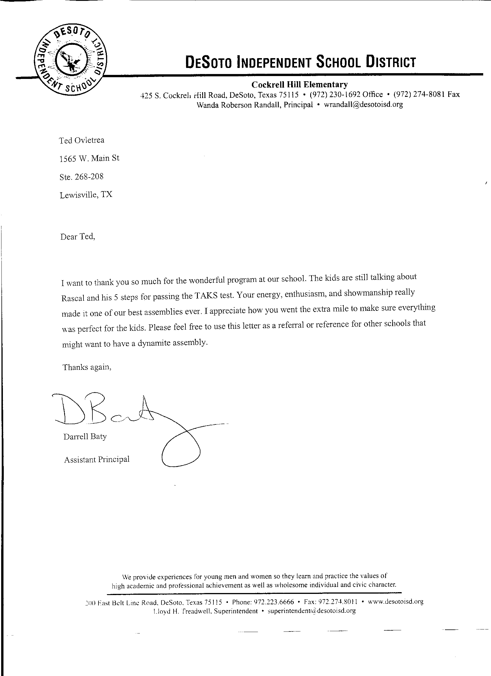 personal letter of recommendation for elementary students